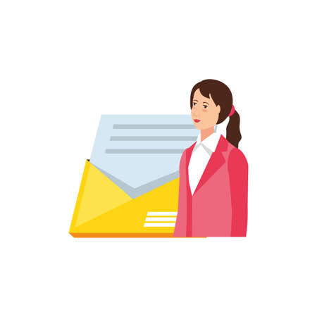 young businesswoman with envelope vector illustration design