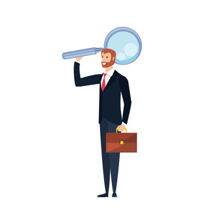 young businessman with magnifying glass vector illustration design