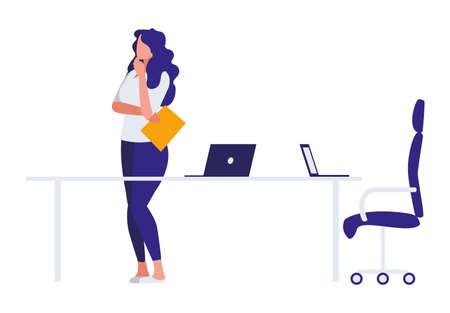 elegant businesswoman in the office scene vector illustration design 일러스트