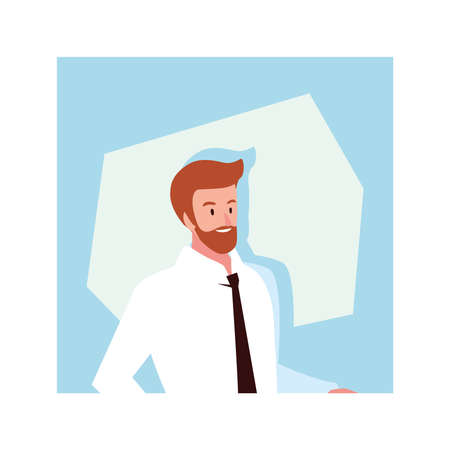 businessman in the office, business professional man vector illustration design