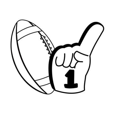 american football ball with hand glove on white background vector illustration design Vettoriali