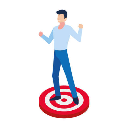 man with target shooting in white background vector illustration design