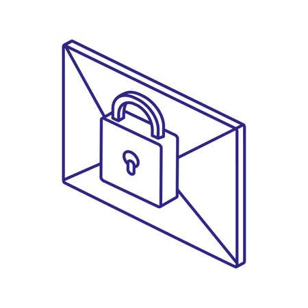 Padlock and envelope design of Security system warning protection danger web alert and safe theme Vector illustration