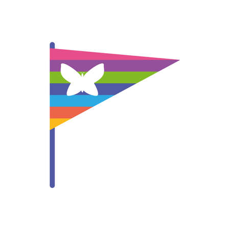 Butterfly inside flag of zero discrimination day , flat style icon vector illustration design