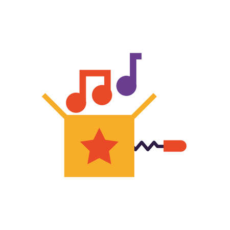 jokebox with musical notes over white background, flat style icon, vector illustration