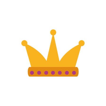 King purple and gold crown design, Prince royal luxury jewelry kingdom insignia emperor authority and coronation theme Vector illustration