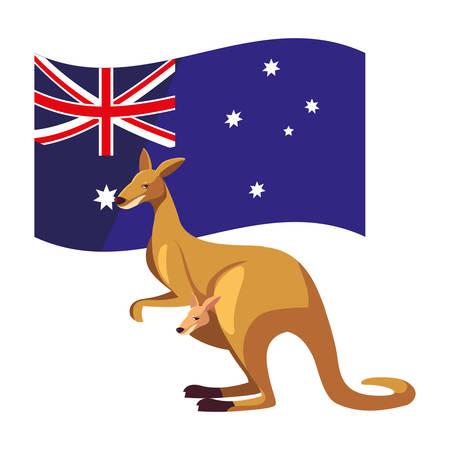 kangaroo with australian flag in the background vector illustration design