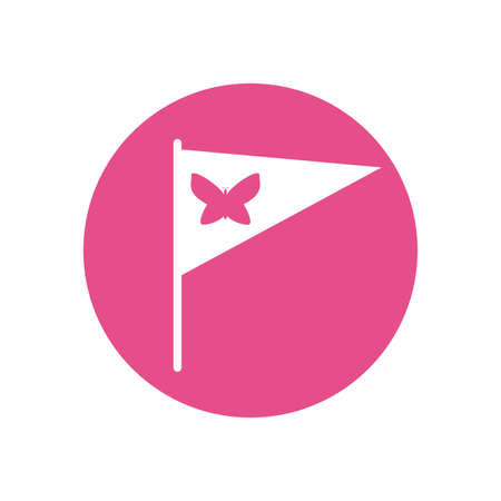 Butterfly inside flag design of Zero discrimination day awareness help support campaign love life care and solidarity theme Vector illustration
