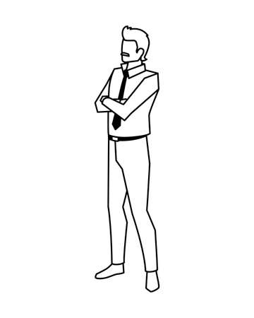 businessman with arms crossed on white background vector illustration design