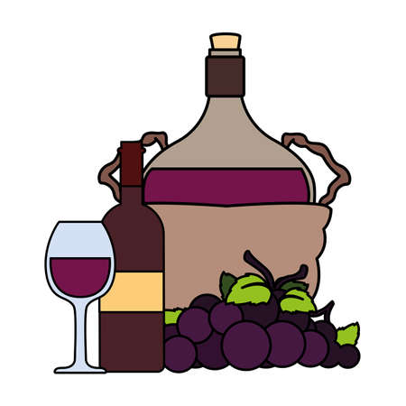 bottle of wine in wicker basket and grapes on white background vector illustration design Illusztráció