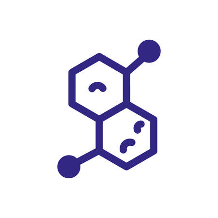 chemical bond icon over white background, thick line style, vector illustration