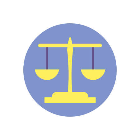 Scale law design, Justice legal judgment judical authority freedom veridict attorney and crime theme Vector illustration Vektorgrafik