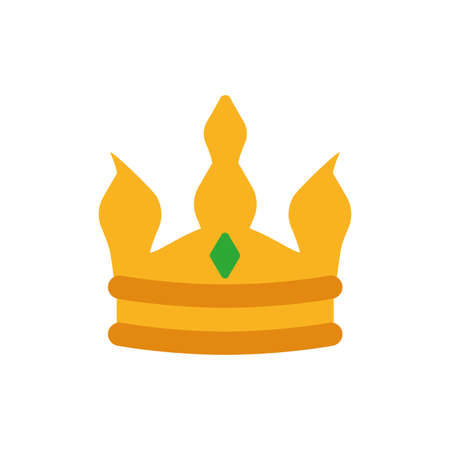 King green and gold crown design, Prince royal luxury jewelry kingdom insignia emperor authority and coronation theme Vector illustration