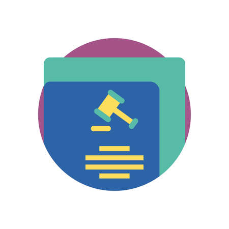 Hammer law and document design, Justice legal judgment judical authority freedom veridict attorney and crime theme Vector illustration