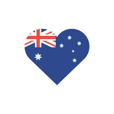 Australian flag heart design, Travel tourism landmark destination nature vacation south western and holiday theme Vector illustration