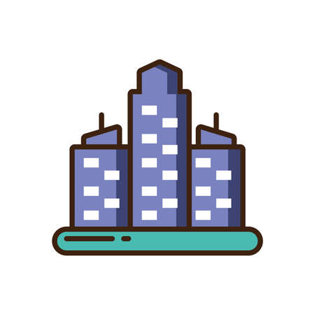 city buildings icon over white background, colorful fill style, vector illustration design Vettoriali