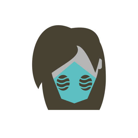 Woman with mask design, Pollution factory environment dirty danger industry plant chemical and toxic theme Vector illustration