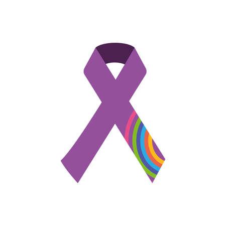 Ribbon of zero discrimination day, flat style icon vector illustration design Illustration