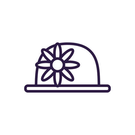 clown hat with flower over white background, line style icon, vector illustration