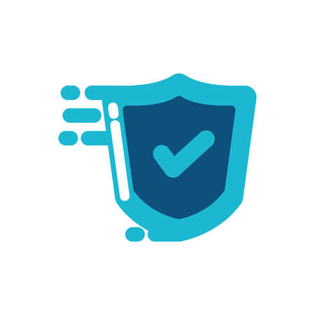 Check mark inside shield design of Security lock access door house safe safety and protection theme Vector illustration