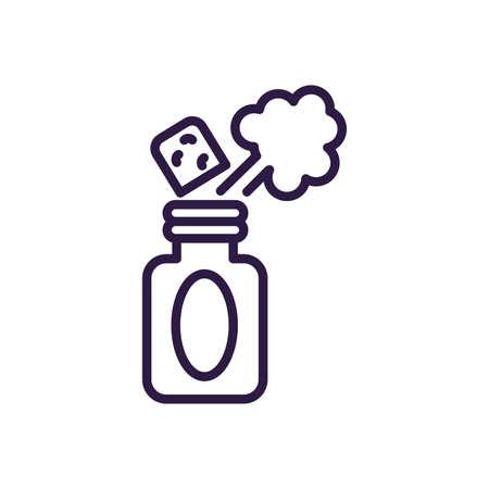 spray prank bottle over white background, line style icon, vector illustration Ilustração
