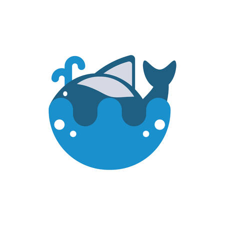 whale animal design Sea life ecosystem fauna ocean underwater water nature marine tropical theme Vector illustration