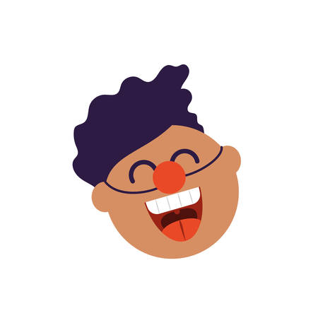 cartoon man with clown nose over white background, flat style icon, vector illustration