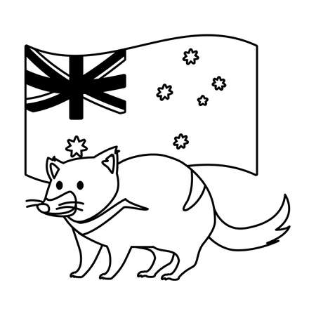 tasmanian devil with australian flag in the background vector illustration design
