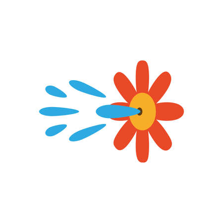 squirt flower prank over white background, flat style icon, vector illustration