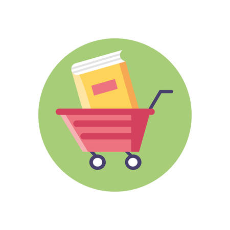 shopping cart with book icon over white background, colorful block style, vector illustration