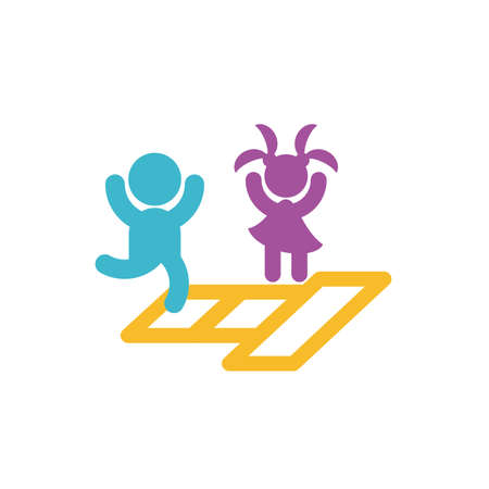 Avatar boy and girl jumping in hopscotch design, Kid childhood little people lifestyle casual person cheerful and cute theme Vector illustration