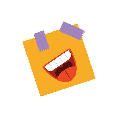 post note with cartoon mouth laughing over white background, flat style icon, vector illustration Banco de Imagens - 141657398