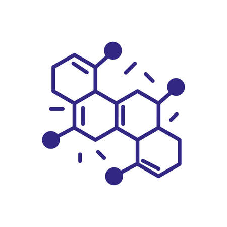 chemical bond icon over white background, line detail style, vector illustration