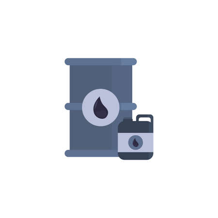 Oil industry barrel and jerrycan design, Gas energy fuel technology power industrial production and petroleum theme Vector illustration  イラスト・ベクター素材