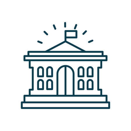 bank building icon over white background, line style, vector illustration