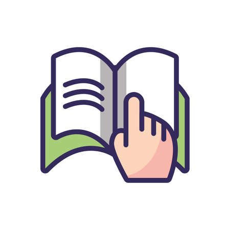 hand pointing a book page over white background, colorful line and fill style, vector illustration