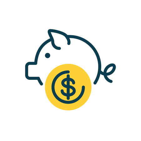 piggy bank icon over white background, half color style, vector illustration