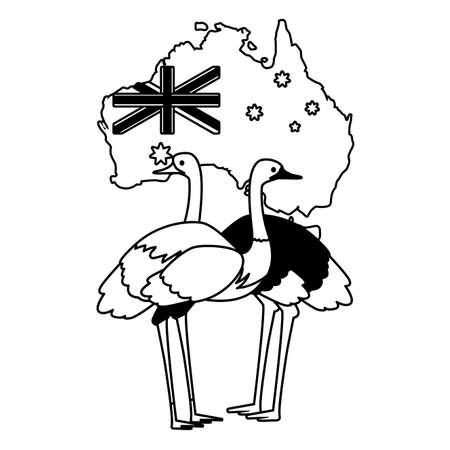 emu and ostrich with map of australia in the background vector illustration design