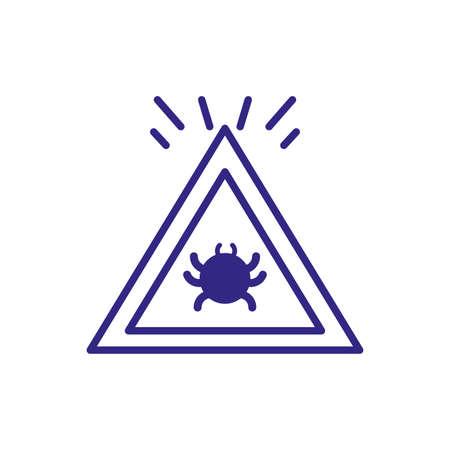 virus warning sign icon over white background, line detail style, vector illustration