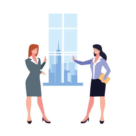 businesswomen in living room with view the city by window vector illustration design
