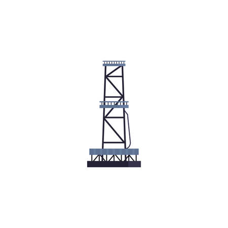 Oil industry tower design, Gas energy fuel technology power industrial production and petroleum theme Vector illustration Ilustração
