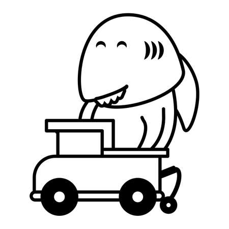 shark with truck toy on white background, baby toys vector illustration design