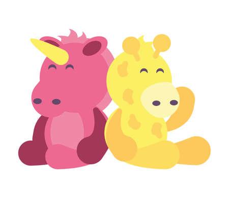 giraffe and unicorn on white background, baby toys vector illustration design
