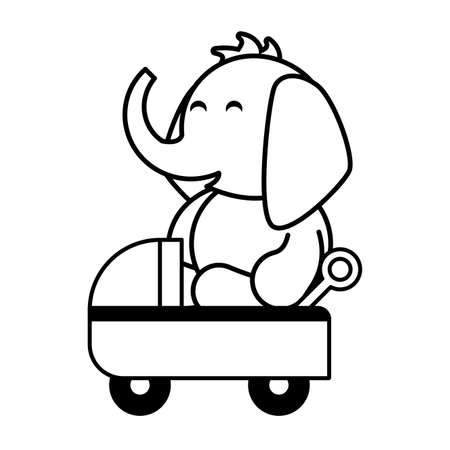 elephant with baby car on white background, baby toys vector illustration design