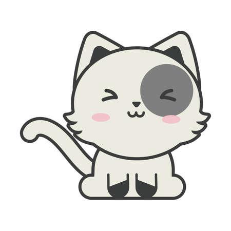 cute cat on white background, domestic vector illustration design