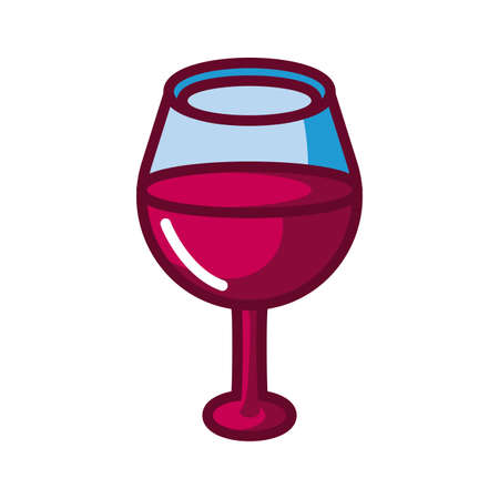 oversized wine glass icon over white background, fill style icon, vector illustration
