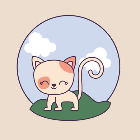 cute cat animal in frame circular with landscape vector illustration design Vectores