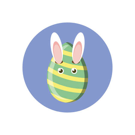 easter egg with bunny eyes and ears over white background, block style, vector illustration Ilustrace