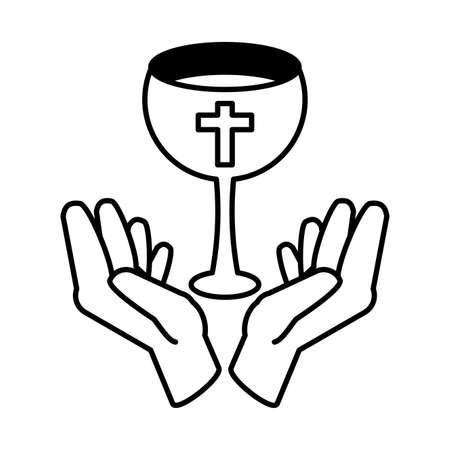 eucharist symbols of bread and wine vector illustration design