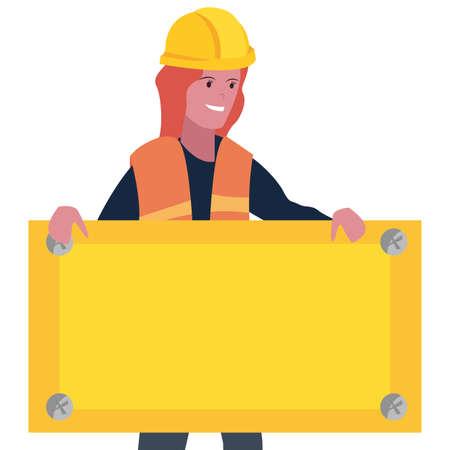 construction worker female board vector illustration design